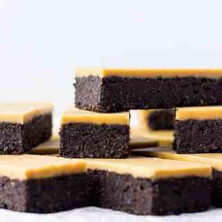 Chocolate peanut butter fudge bars.
