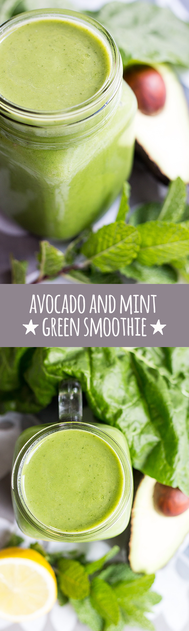 Immune boosting avocado and mint green smoothie.