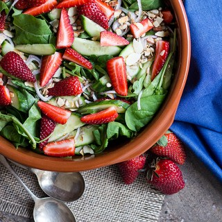 Rocket and strawberry salad with strawberry vinaigrette.