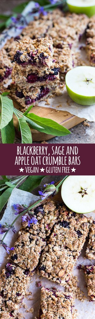 Rustic oat crumble bars with blackberries, apple and a subtle hint of fresh sage and lemon are great for breakfast, snacks or warmed for dessert. Vegan and gluten free.