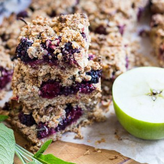 Blackberry, sage and apple oat crumble bars.