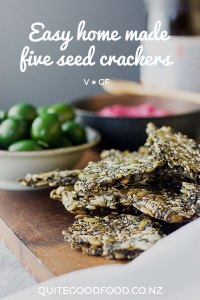 Healthy and moreish home made five seed crackers are a tasty snack by themselves or with your favourite dip, perfect to serve alongside drinks. (Vegan and gluten free).