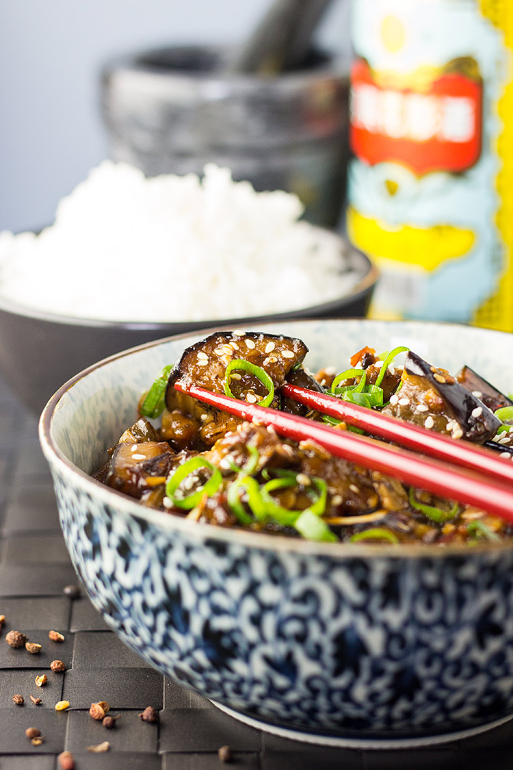 Spicy Szechuan eggplant (vegan, with a gluten free option).