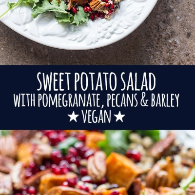 Perfect for the festive season, this hearty sweet potato salad with pomegranate, pecans and barley is served with a punchy herb dressing.