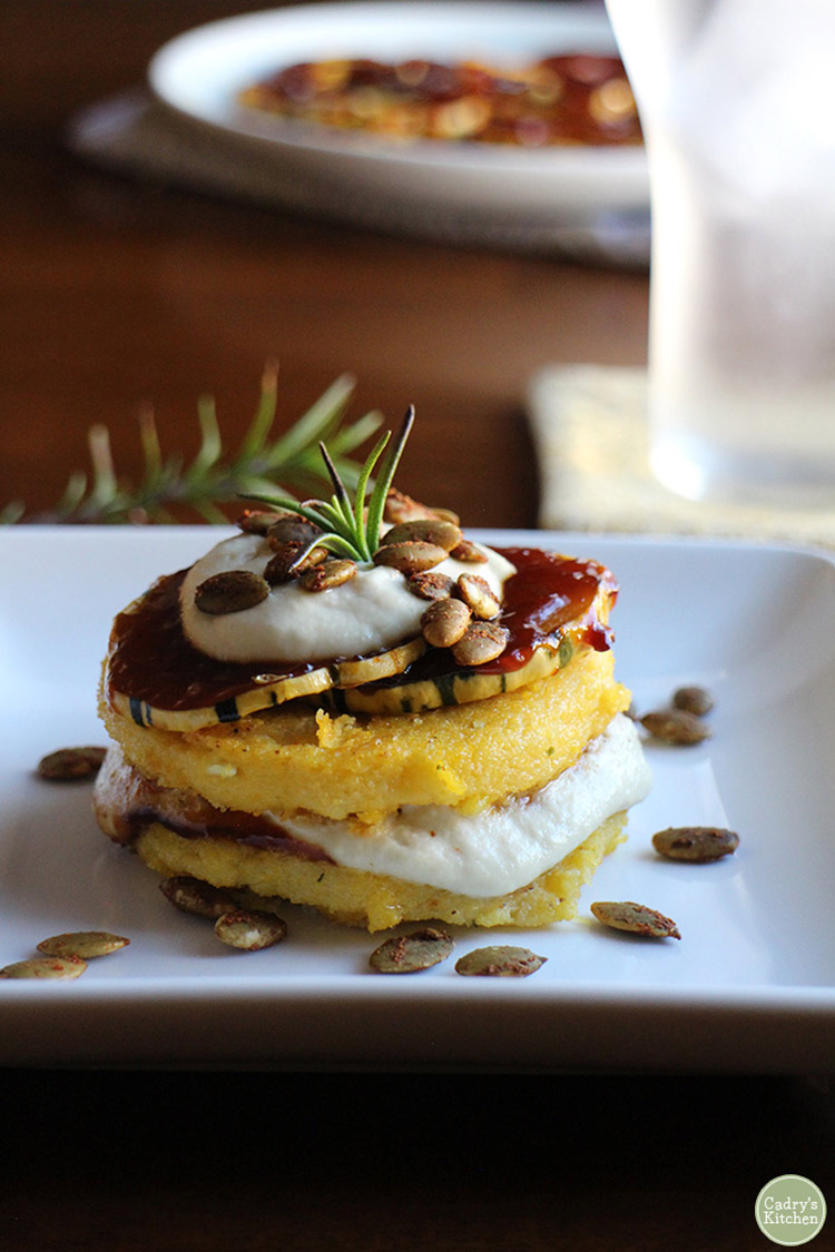 Polenta stacks with BBQ squash & cashew cream (vegan and gluten free).