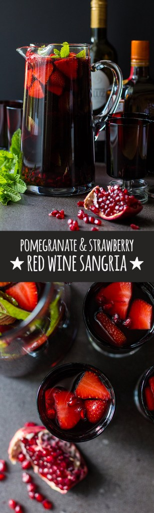 A sweetly refreshing chilled red wine sangria with pomegranate, sliced strawberries and lots of fresh mint.