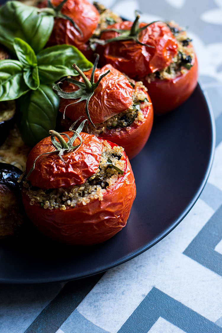 Quinoa, basil and olive stuffed tomatoes (vegan and gluten free).