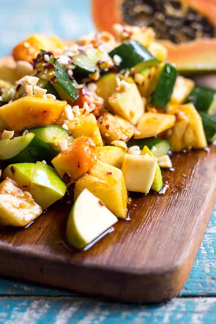 Rojak - Malaysian style spicy fruit salad (vegan).