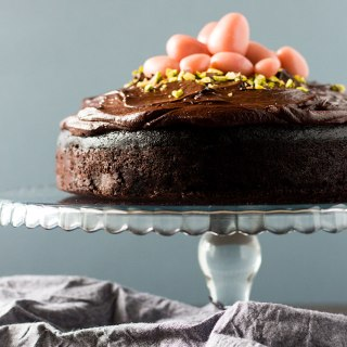 Dark chocolate beetroot cake with dairy free ganache frosting and marzipan eggs (vegan and gluten free).