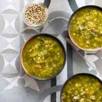 Restorative rainbow chard and leek soup (vegan and gluten free).