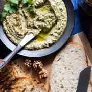 Turkish-style coriander (cilantro) and walnut tarator (vegan).