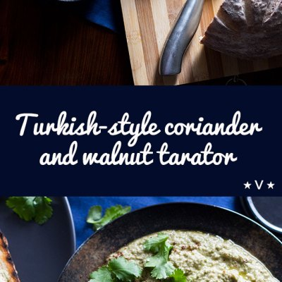 Turkish-style walnut tarator is a creamy vegan dip made with walnuts, garlic, herbs and day-old bread.