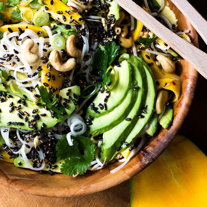 Mango and avocado noodle salad with puffed black rice (vegan and gluten free).