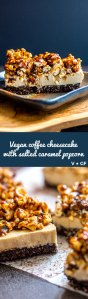 Vegan coffee cheesecake with salted caramel popcorn topping (vegan and gluten free).