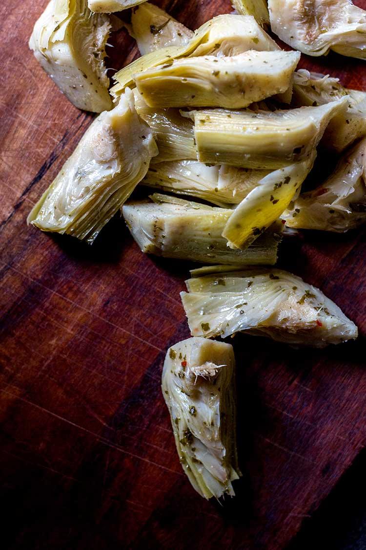 Marinated artichoke hearts.