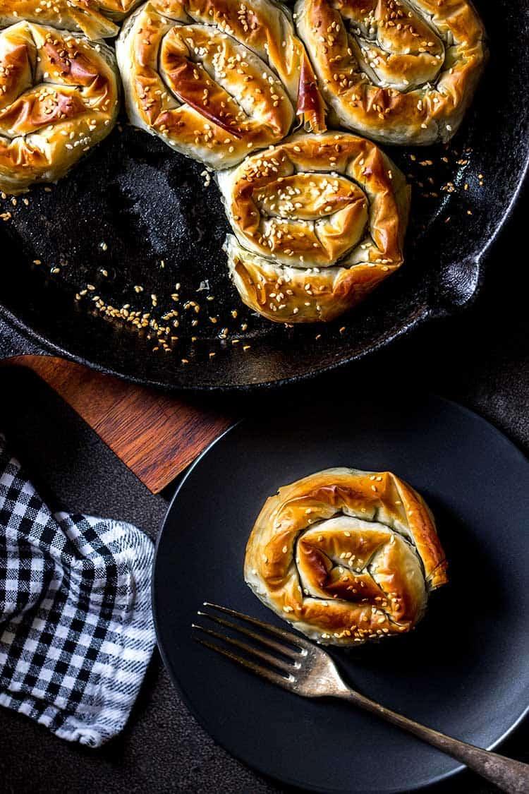 Creamy spinach and artichoke borek (vegan).