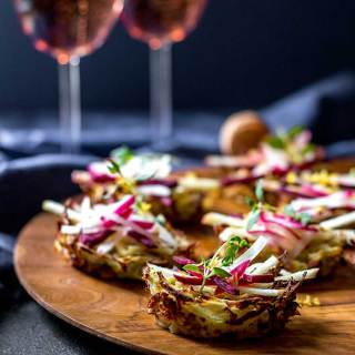 Potato nests with radish, apple and beetroot
