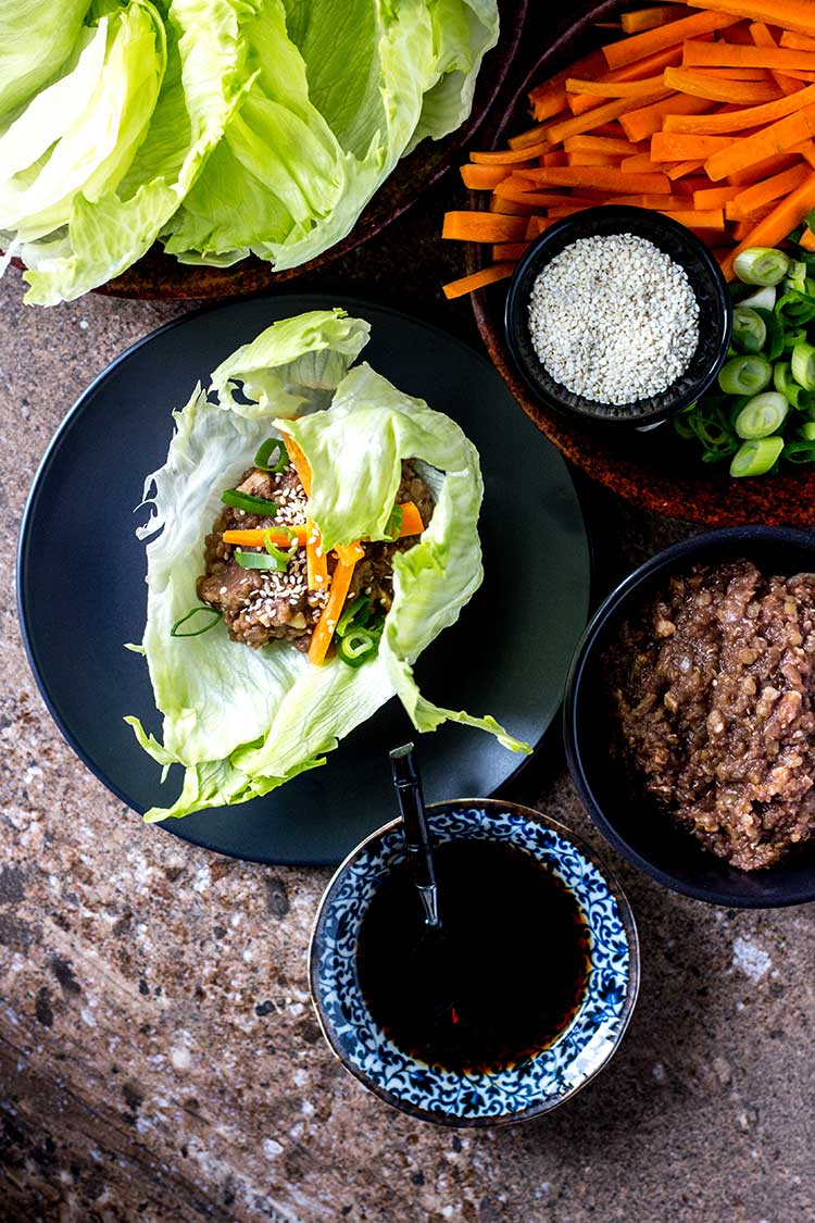 Oh mommy umami lettuce wraps from Fuss-Free Vegan: 101 Everyday Comfort Food Favorites, Veganized. (Vegan and gluten free).
