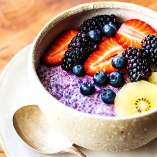 Blackcurrant and chia seed overnight oats.