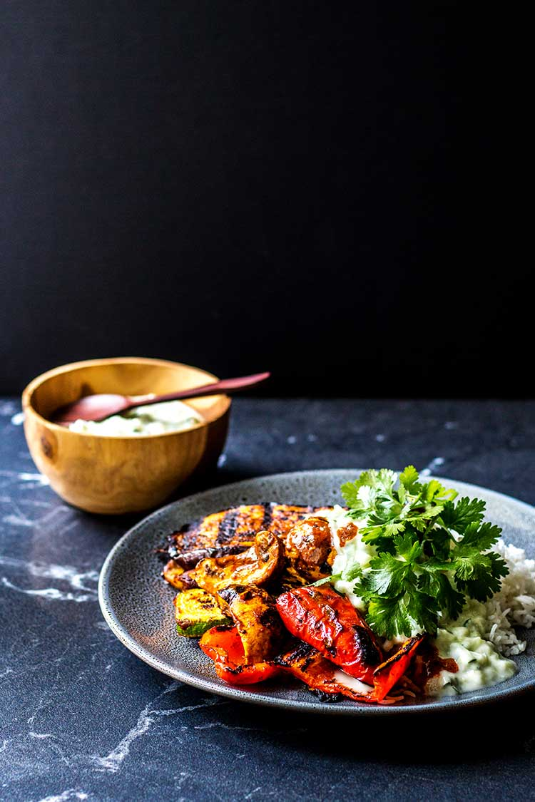 Grilled curry vegetables with coconut raita (vegan and gluten free).