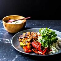 Grilled curry vegetables with coconut raita.
