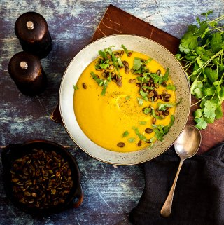 Sweet potato soup with tamari pumpkin seeds.