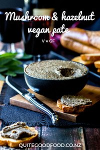 An earthy and nutty smooth vegan pate made with mushrooms, hazelnuts and lots of fresh sage. Rich, luxurious and perfect with a glass of your favourite red wine. (Gluten free).