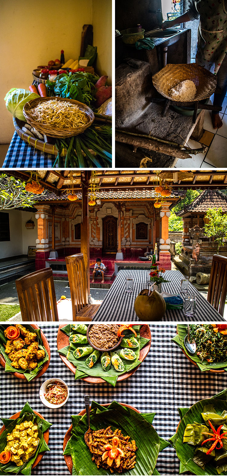 A Balinese cooking class with Putu from Traveling Spoon, pictures of ingredients, the family compound and finished meal.