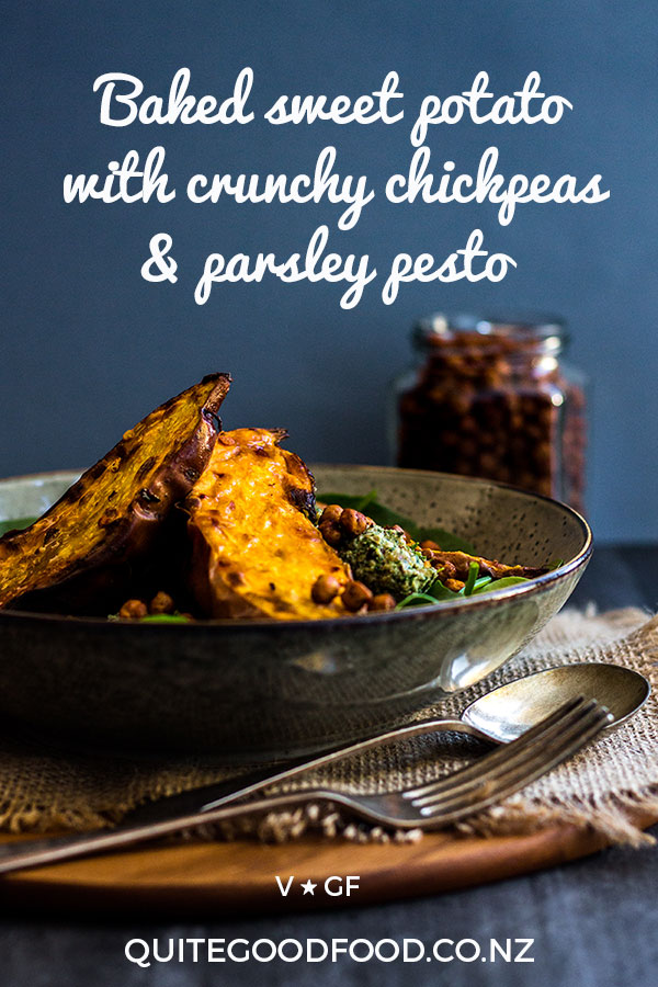 Tender baked sweet potato with crunchy paprika chickpeas and dollops of lemony parsley and walnut pesto make a delicious one bowl meal that's naturally vegan and gluten free.