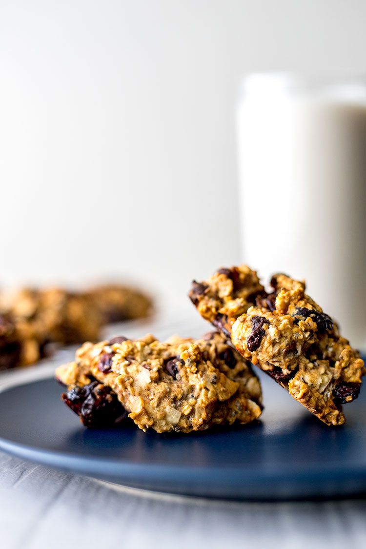 Gluten free oaty chocolate cranberry cookies.