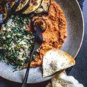 Quinoa, kale and eggplant bowl with muhammara dip (vegan and gluten free).