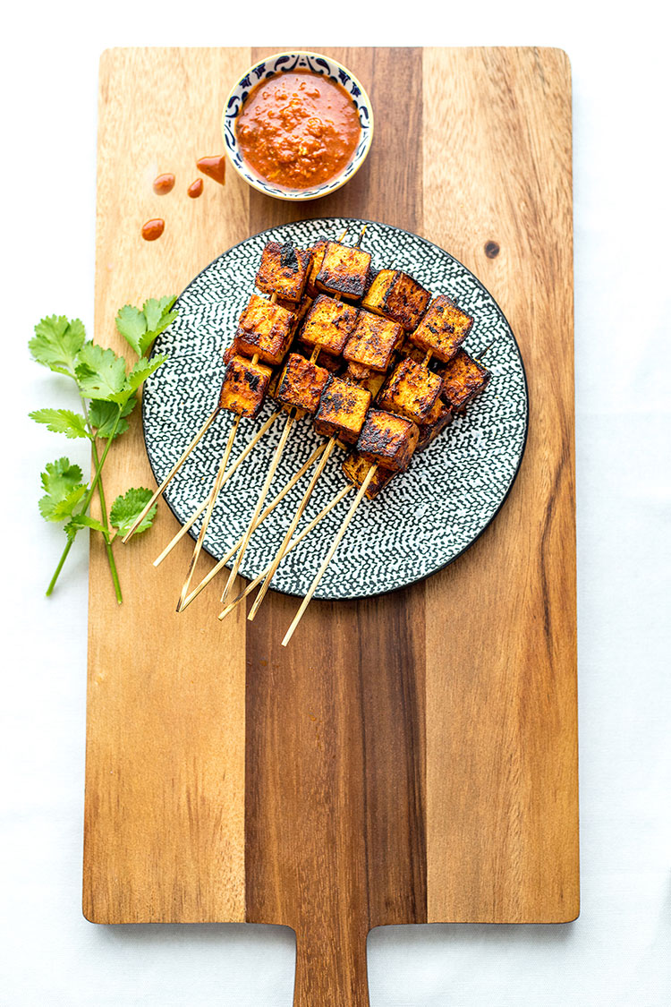 Orange tofu chipotle skewers (vegan).