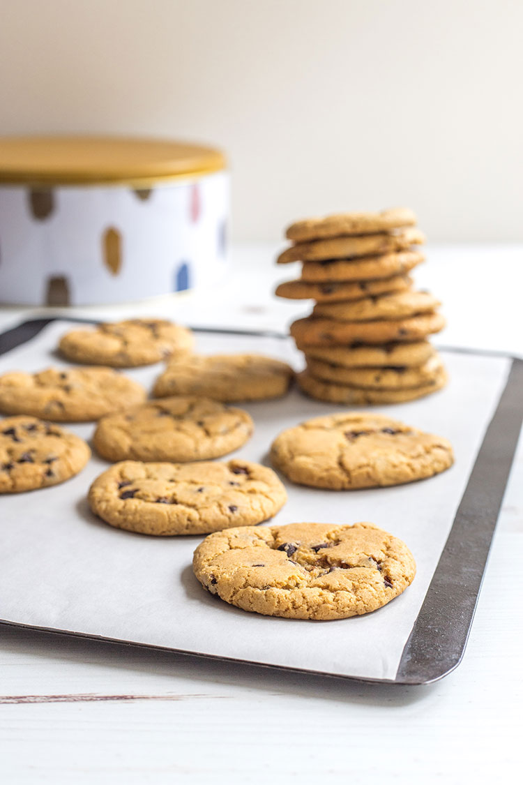 Vegan chocolate chip cookies, fresh out of the oven.