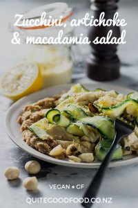Zucchini ribbons and marinated artichokes, tossed with a lemon macadamia dressing and toasted macadamias, served with caramelised onion and butter bean puree. Vegan and gluten free.