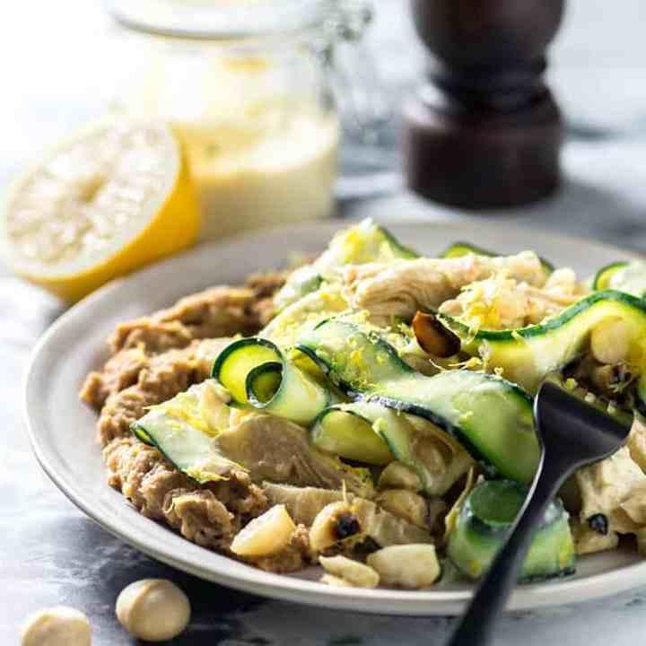 Zucchini, artichoke and macadamia salad.