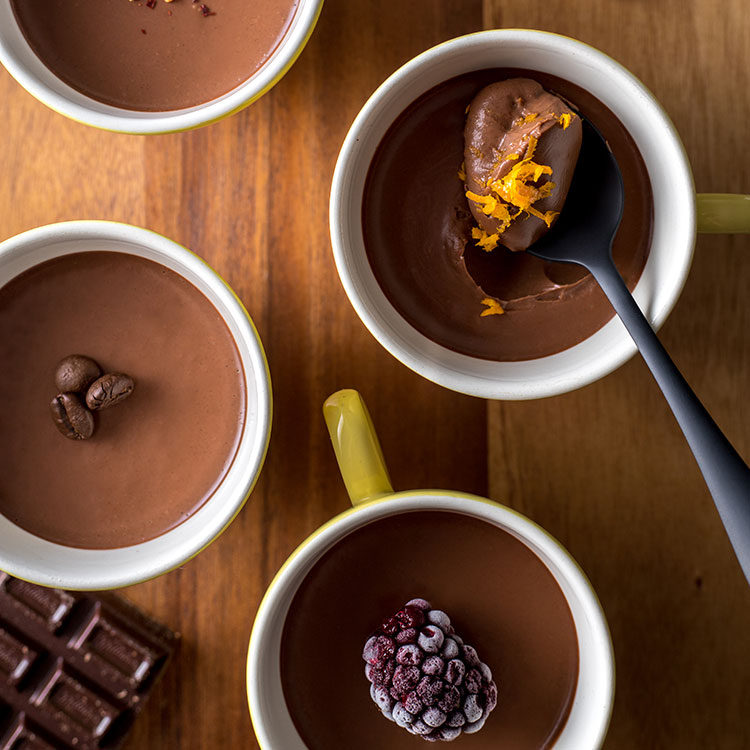 Dark chocolate pots four ways