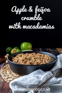 Apple and feijoa crumble topped with a whole foods crumb made with oats, buckwheat flour, ground almonds and macadamias. Vegan, gluten free and refined sugar free.