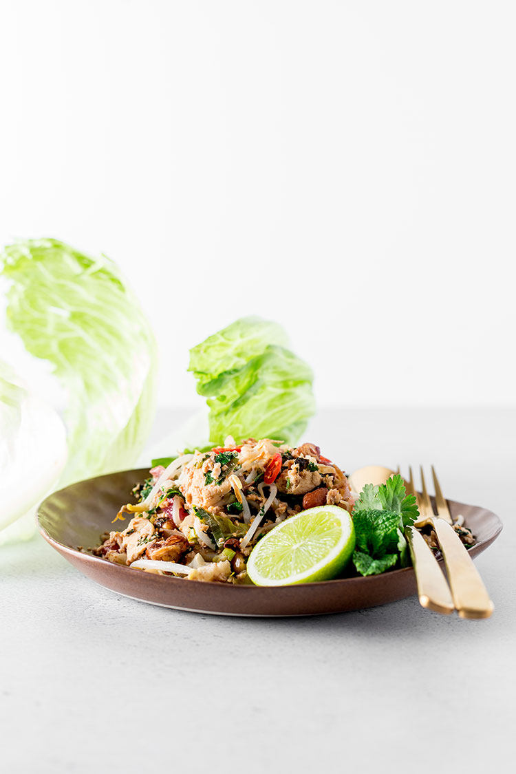 Cauliflower, peanut and tofu larb (vegan and gluten free).