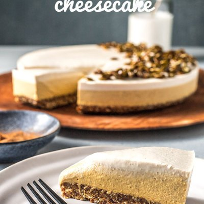 A creamy vegan pumpkin pie cheesecake made with a maple sweetened mixture of pumpkin, spices, cashews and coconut yoghurt for an authentic tasting tang. Gluten free.