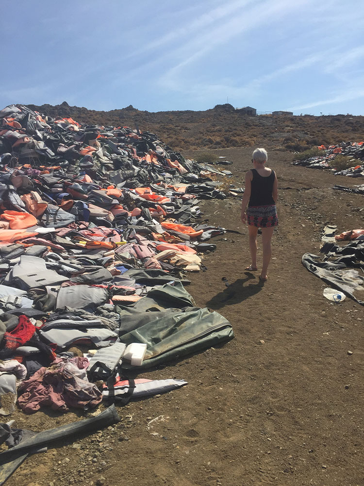 The lifejacket graveyard on Lesvos. Human traffickers were known to charge people €120 for knock-off lifejackets that weren't buoyant – some actually absorbed water.