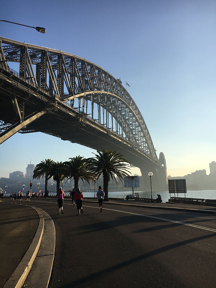 Sydney Half Marathon 2019 - under the Sydney Harbour Bridge.