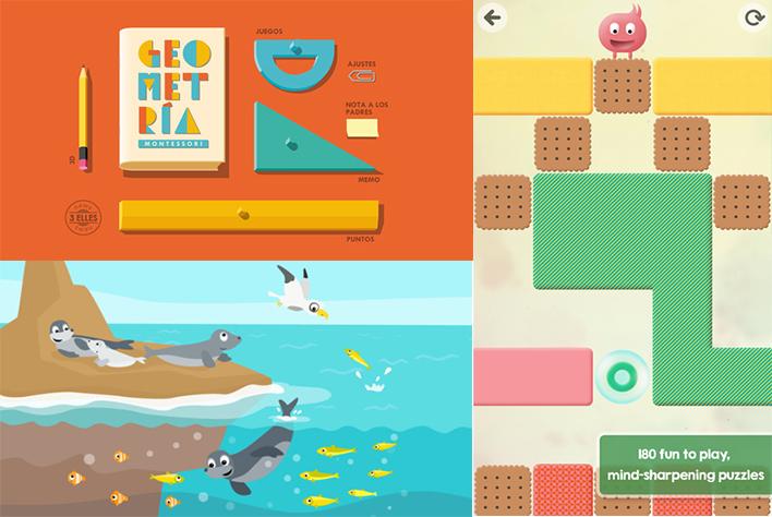 Ejemplos de apps para niños, Geometría Montessori (desarrolla la lógica a través de la categorización y jerarquización de la formas geométricas), BioMio (busca generar interés en los niños por la biología del mundo que les rodea) y Thinkrolls (juego de estrategia, que ejercita la mente de los pequeños, su memoria y su capacidad lógica). Fotos tomadas de: https://www.yeeply.com/