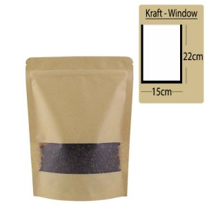 Quiware Stand Up Zip Lock Kraft – Window 15cm(Width) x 22cm(Long) -100 pouches