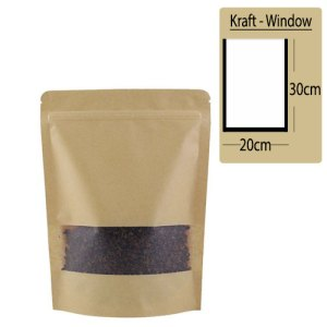 Quiware Stand Up Zip Lock Kraft – Window 20cm(Width) x 30cm(Long) -100 pouches