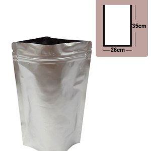 Quiware Stand Up Zip Lock Pure Aluminium Pouch 26cm(Width) x 35cm(Long) -100 pouches