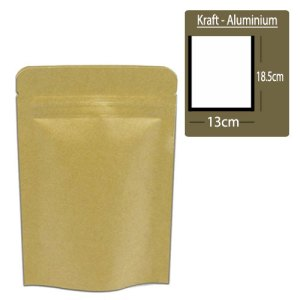 Quiware Stand Up Zip Lock Kraft – Inner Aluminium 13cm(Width) x 18.5cm(Long) -100 pouches