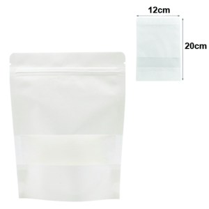 Quiware Stand Up Zip Lock White Kraft – Window 12cm(Width) x 20cm(Long) -100 pouches
