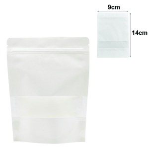 Quiware Stand Up Zip Lock White Kraft – Window 9cm(Width) x 14cm(Long) -100 pouches