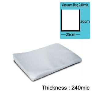 25cm(W) x 36cm(L) Both Sides Clear Vacuum Bag 240mic x100pcs