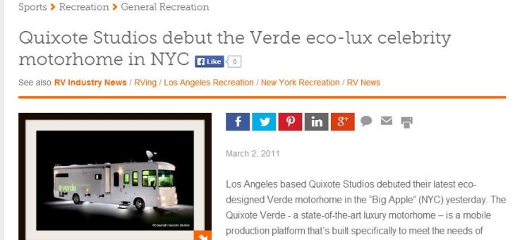 Examiner.com: Quixote Studios debut the Verde eco-lux celebrity motorhome in NYC